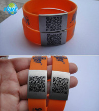 Custom Logo Personalized QR Code Silicone Bracelets with metal plate - Yiwu Factory directly
