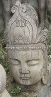 chinese antique hand carved wooden buddha head