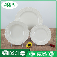 High quality cheap personalized white round porcelain plate for dinner