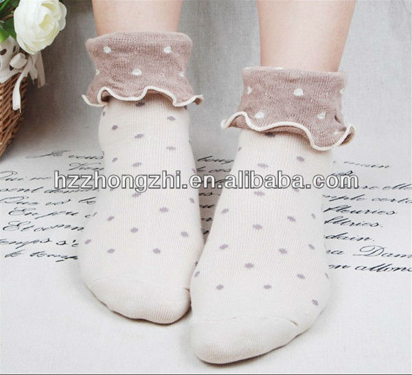 Lace tern cuff women ankle high lovely dot jacquard hemp wearing dress socks