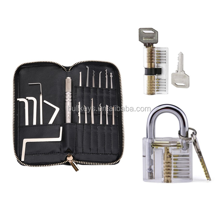 Premium Lockpicking Set Lock Pick Tools 18-Piece Kit With Two Clear Locks In 2 Difficulties For Practice Training