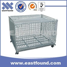 Low Price Stackable Wire Mesh Pallet Storage Folding Steel Cage With Lid