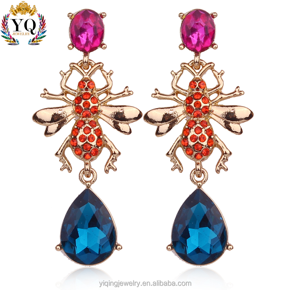 EYQ-00199 colorful crystal rhinestone bee shape gold plated jewelry imitation earrings