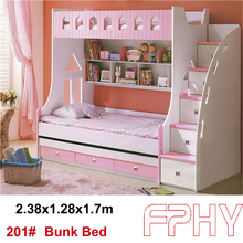 FPHY Modern Children Bedroom furniture MDF wooden kids bunk bed with slide