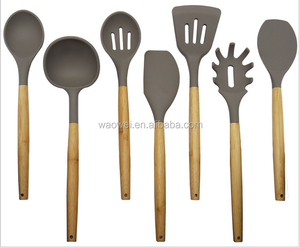 2016 Hot Set of 7 Silicone Cooking Utensil Set with Wood Handle, Kitchen Tools, Kitchenware