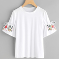 Embroidered drawstring ruffle short sleeve women white t shirts