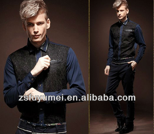 Men 's formal luxurious royal shirt formal long sleeve leather