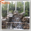 Home and garden stone wall water fountains waterfalls artificial fiberglass garden rock waterfall decoration