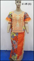 C-15(2) New eco-friendly African bazin embroidery dress design for wedding dress