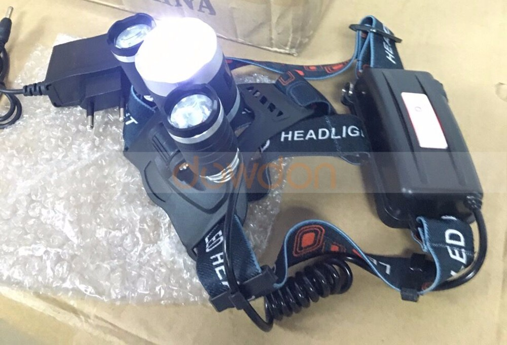 2 18650 Battery Headlight 3 Cree XML T6 5000LM LED Hunting Light Rechargeable Headlamp