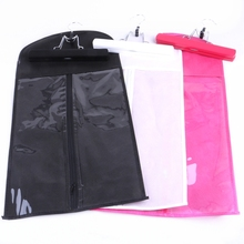 Customized Black Pink White pvc non woven hair extension package with suit case zipper bag wood hanger