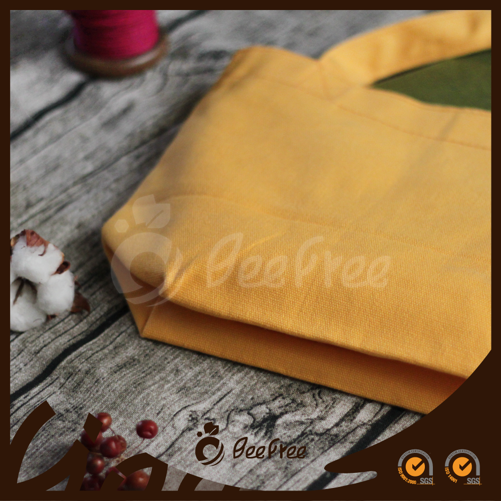Top Quality Square Wholesale Handmade Yellow Small Canvas Cotton Colorful Tote Bag