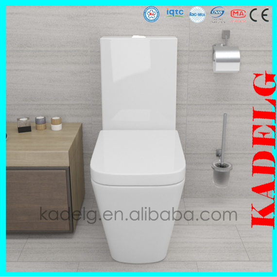 One piece floor mounted toilet ceramic P trap WC