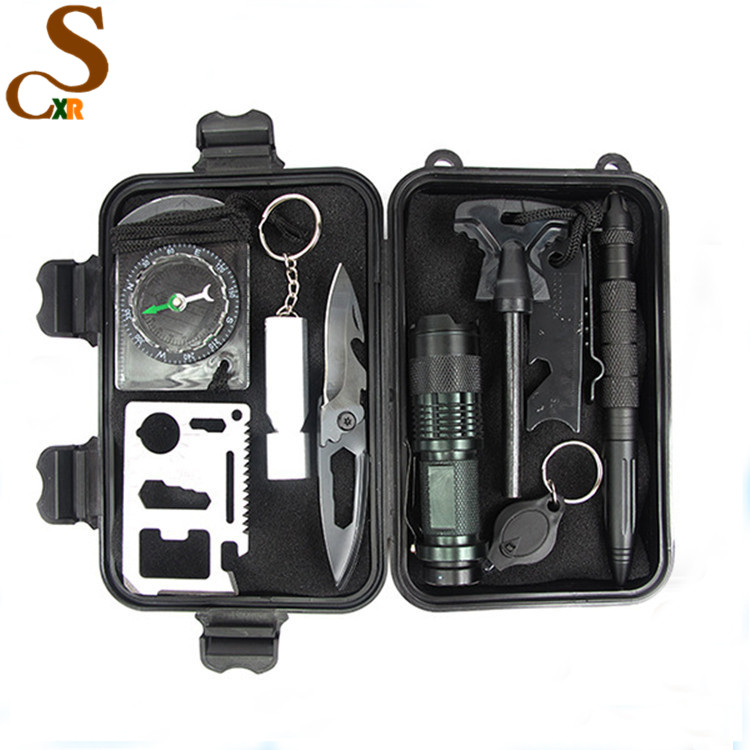 10 in 1 Multi Emergency Professional Survival Tools Outdoor Survival Gear Kit for Traveling Hiking Biking