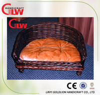 Willow pet bed with cushion,wicker pet basket for medium sized dog