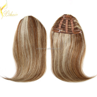 Factory big stock wholesale remy clip in hair extension bangs