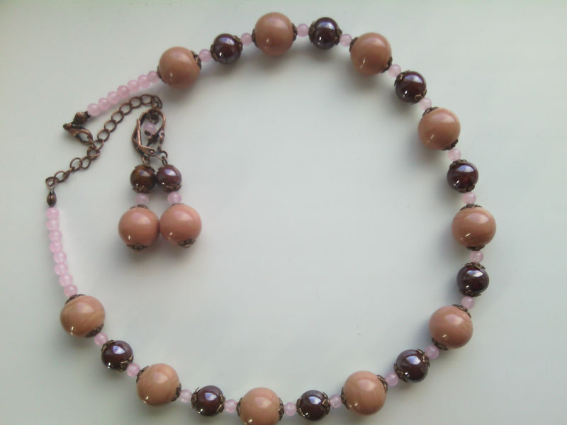 SET WITH LAMPWORK AND PORCELAIN BEADS - HANDMADE!!!