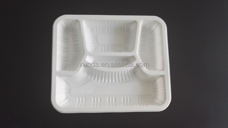 Disposable Plastic Fast food Packaging Tray with 5 compartments