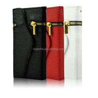 Factory Price Zipper PU Leather Magnetic Flip Wallet Pouch Case for iPhone 5 5S/Earphone