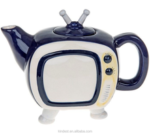 collectable blue Teapot Tv tea vintage novelty ceramic ornament gift