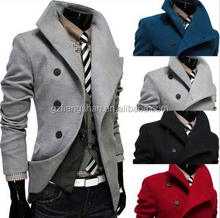 OEM Wholesale Hot style fashion casual single-breasted men's coat lapel and long sections woolen coat