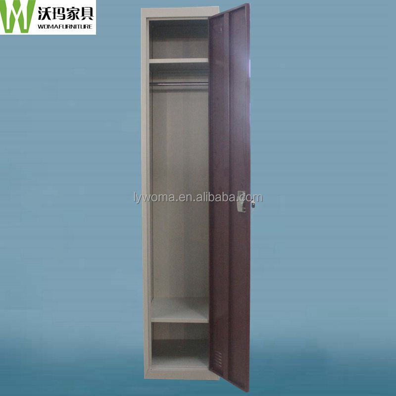 OEM cheap clothes cabinet with single door,narrow small metal locker with 2 shelves