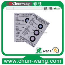 China eco friendly desiccant and 5%,10%,15% humidity indicator sheet