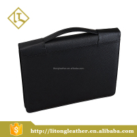 Black Briefcases document bags Pu leather A4 portfolio case with calculator