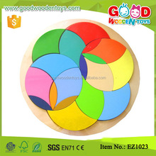 EZ1023 Preschool Colorful Wooden Circle Pattern Kids Play Blocks