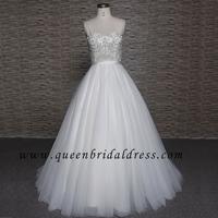 High Quality Spaghetti Strap Crystal beaded Sash A-line Wedding Gowns