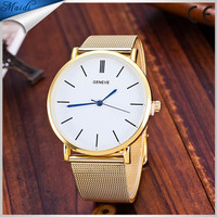 New Luxury Brand Top Quality Casual Geneva Quartz Watch Women Metal Mesh Stainless Steel Dress Watch Factory Price GW079