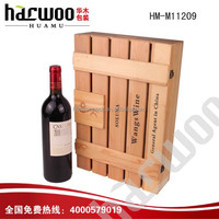 Printed pine wood 6 bottles wine box for sale