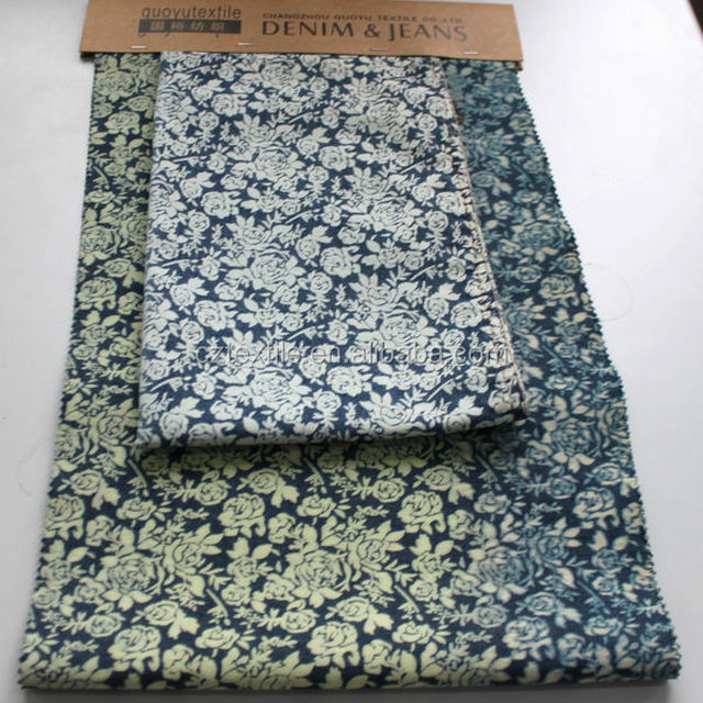 make to order china mill printed denim fabric