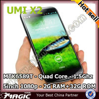 "5"" umi x2 mkt6589t android 4.2 quad core techno mobile phone"
