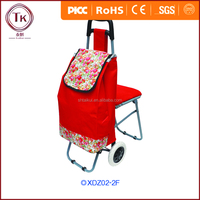 Fashion designed polyester shopping trolley bag with chair for young people