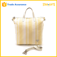 Wholesale Yellow Stripe Cotton Tote Bag With Leather Handles