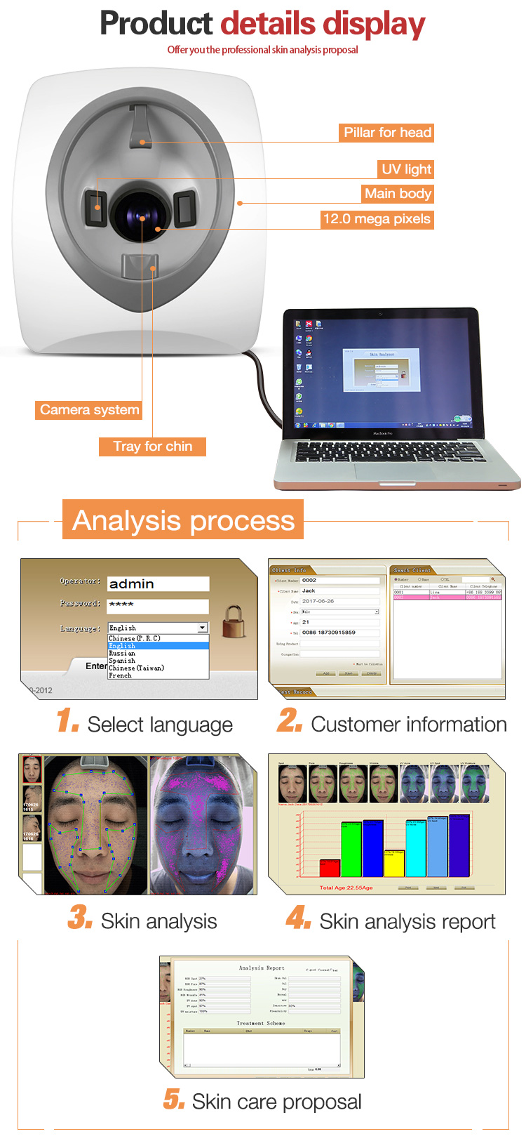 Newangel professional portable 3D digital system skin analysis machine