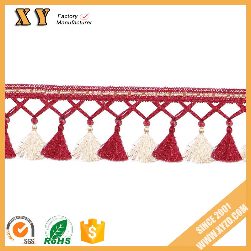 colorful and factory price curtain lace with tassels for furniture/curtain fringe