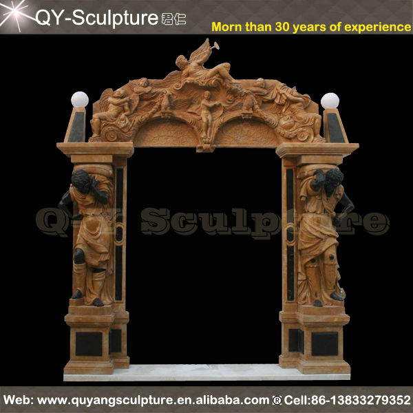 Yellow Marble Stone Door Surround With 2 Sides Statues