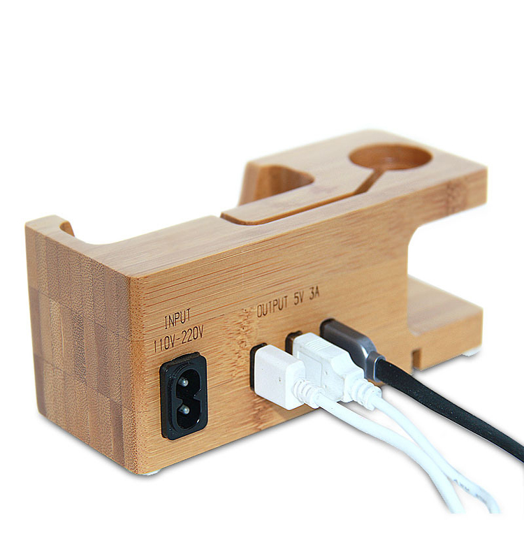 3 USB Ports Charging Dock Bamboo Wood Desktop Charger Hub 5V3A Smart Charge Station