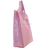 PINK COLOR PVC shopping bag glossy shopper tote harrod customized bag high quality