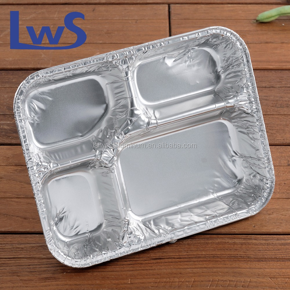 Restaurant use disposable compartment aluminium foil container,divided fast food aluminium foil serving tray with aluminium lid