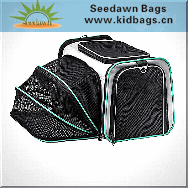 Foldable Duffle Bag Style Collaposable Pet Dog Carrier Cage Bag with Expandable Front Resin Mesh Breathable Pocket for Cat Puppy