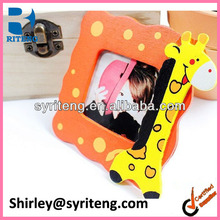 cheap mini 4*4 wood standing baby DIY photo frame