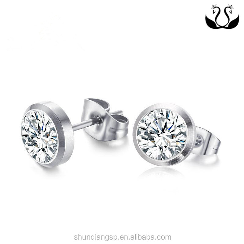 Cheap Jewelry Women Stainless Steel 3A Cubic Zirconia Stud Earring