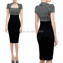Hot Selling White Black Plaid OL Bodycon Dress Cap Sleeves U Neck Fashion Brand Knee Length Vestidos