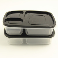 Lunch Containers 3-Compartment Plastic Disposable Bento Lunch Box