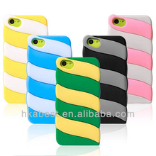 Dual color Rainbow silicone case for iphone 5C mobile phone cases, new quality cover Cases for 5C