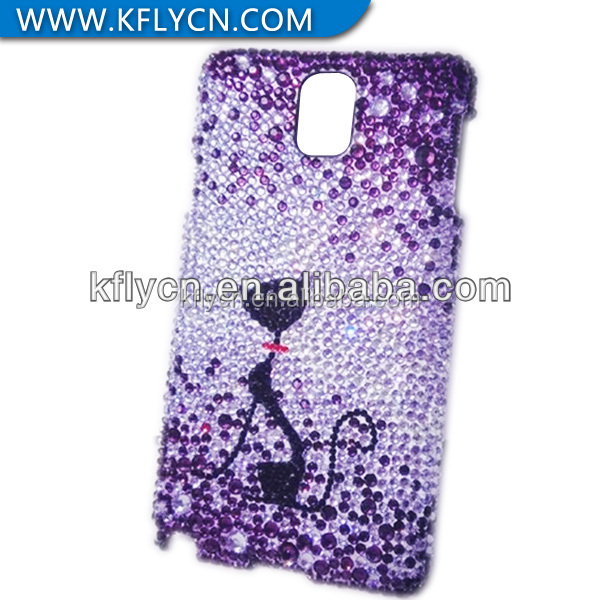 diamond decorative lovely cat pc case for samsung mobile phone accessory