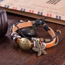 2017 DIY Popular Star And Starfish Jewelry Alloy Leather Charm Bracelet For Men